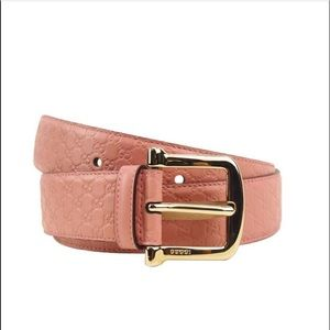 Pink embossed guccissima belt